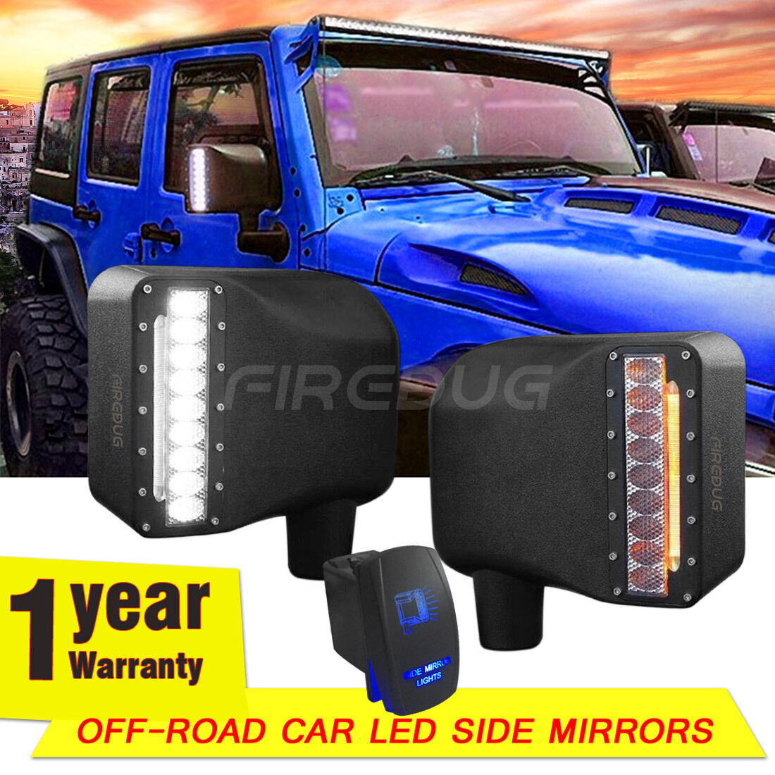 Firebug Jeep Wrangler Side Mirror Housing With Turn Signal Lights Light Switches Bonus Switch