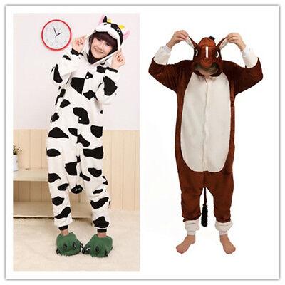 Zoo Bauernhof Pferd Kuh Onesiee Kigurumi Kostüm Kapuzenpullover - Kuh Anzug Kostüme
