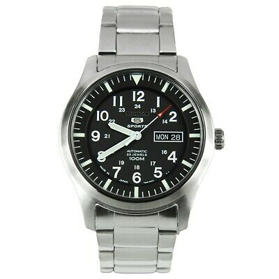 Seiko 5 SNZG13J1 Automatic Black Dial Stainless Steel Mens 100M Watch