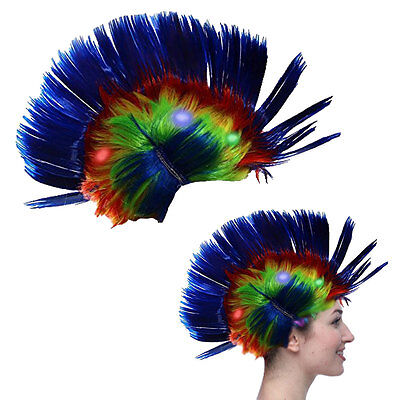 Dazzling Toys Blinking LED Blue Mohawk Wig Unisex Halloween Fancy Punk Costume