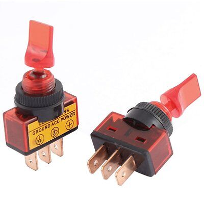 5 Pcs Spdt 2 Position On-off 12mm Thread Red Car Toggle Switch Dc12v 20a