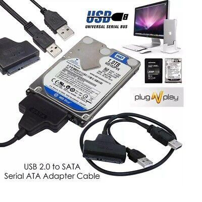 USB A SATA 6.3cm HDD SSD Disco Lector Cable Adaptador Para Externa...