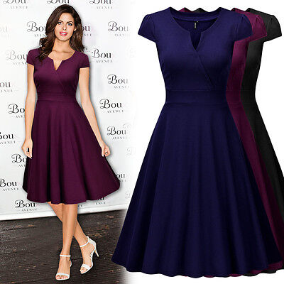 Women Vintage Business Work Wear Cocktail Evening Party Casual A Line Slim Dress
