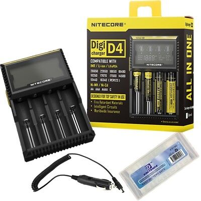 - NiteCore D4 + CAR-Adapter Bundle Nitecore D4 Charger with Integrated LCD Panel