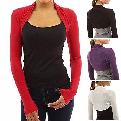 Womens Long Sleeve Bolero Shrug Knit Plain Cropped Jacket Cardigan Top Coat