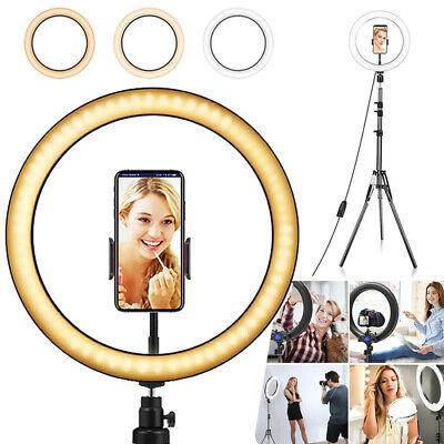 LED Ring Light Lamp With Tripod Stand Phone Selfie Camera Studio Video Dimmable