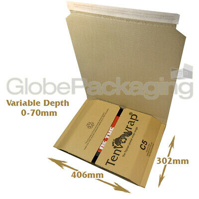 5 x X-LARGE C5-R BOOK WRAP MAILER POSTAL BOXES 406x302x70mm TOYS GAMES ETC