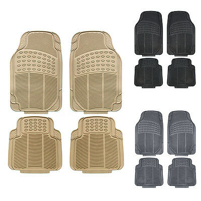 Luxury New Heavy Duty Rubber 4pc Car Floor Mats Carpet All Weather Universal
