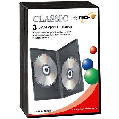 Heitech 3er-Pack DVD-Leerhüllen für je 2 DVDs DVD-Jewel-Case DVD-Hülle DVD-Box