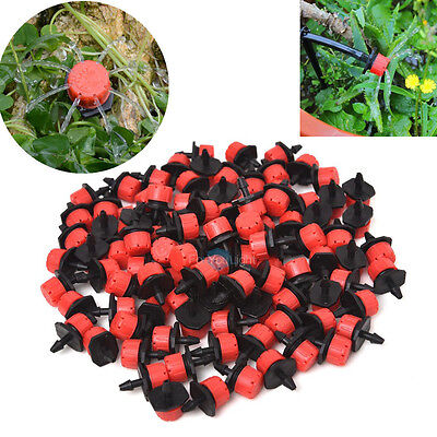 "100pcs Micro Drip Irrigation Watering Anti-clogging Emitter Drippers 1/4"" Barb"
