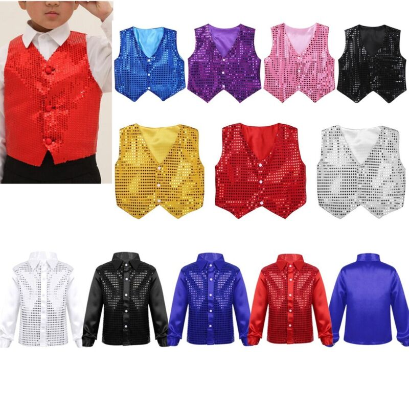 Unisex Sequined Vest Waistcoat Dance Party Costumes Boys Girls dance outfits