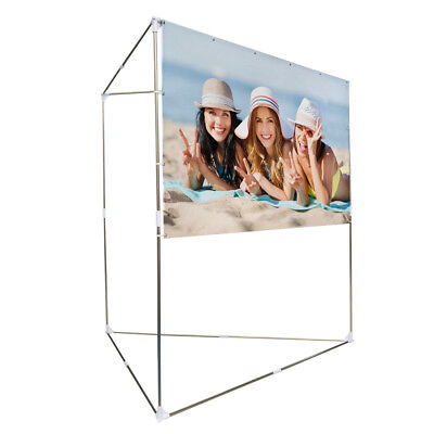 "100"" 16:9 Portable Projector Screen Triangle Stand Outdoor & Indoor Lightweight"