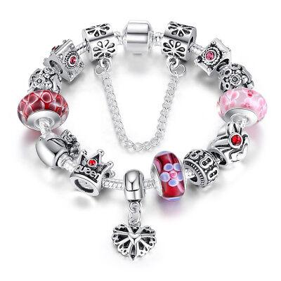 Diy European 925 Sterling Silver Pink Crystal Glass Bead Charm Bracelet W Charms