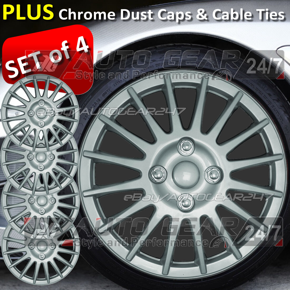 UKB4C 4x Wheel Trims Hub Caps 15 Covers fits Seat Ibiza Leon Toledo Alhambra Altea Black /& Silver Alloy Look