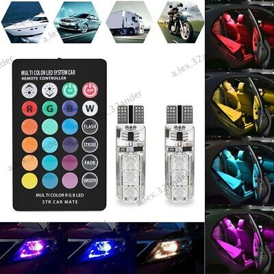 LED 501 Remote Control W5W T10 RGB Color Changing Car Wedge Side Light Bulbs