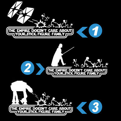 Car Empire Stick Figure 2 Star Wars Vinyl Decal Sticker Funny Exterior Window