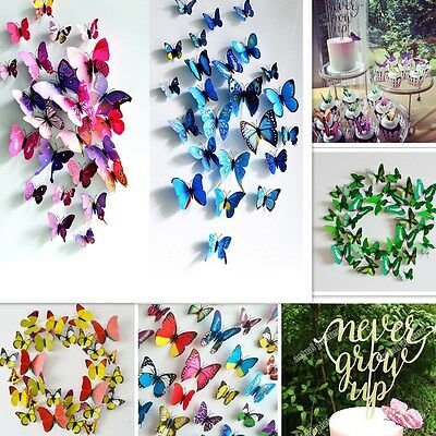 12pc 3D Butterfly Sticker Art Design Decal Nursery Home Decor Magnetic Wholesale (Butterfly Nursery Decor)