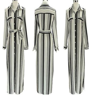 Women Long Sleeve Tunic Belted Shirt Maxi Black White Striped Long Shift Dress (Long Sleeve Belted Tunic Shirt)