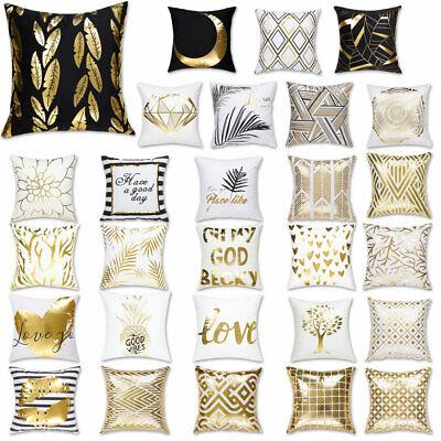 Square Throw Pillow Case Gold Stamping Sofa Car Waist Cushio