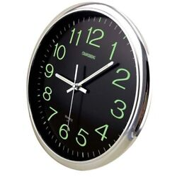 12'' Modern Large Luminous Quartz Wall Clock Non-ticking Glow In The Dark Silent
