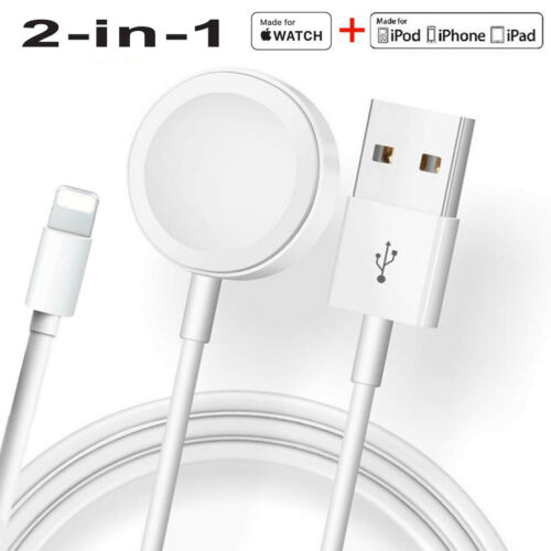 2-in-1 Magnetic Charger USB Cable For Apple Watch SE/6/5/4/3/2/1 iPhone 11/8/7/X