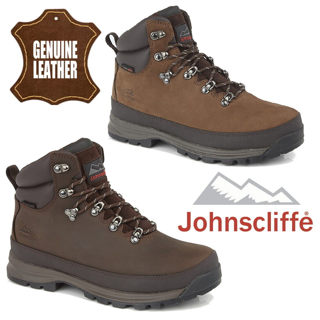 9be2502e39a Details about Johnscliffe Edge Men's Leather Hiking Boots Water Resistant  Hill Walking Shoes