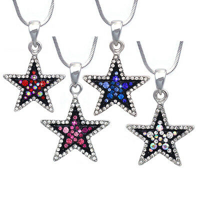 Pink Red Blue Clear Crystal Pave Two Tone Color Star Pendant Necklace Set