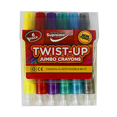 6 Pack Jumbo Twist Up Crayons Non Toxic High Quality Crayons Markers