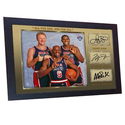 Michael Jordan Larry Bird Magic Johnson signed autograph NBA USA Olympic Framed.