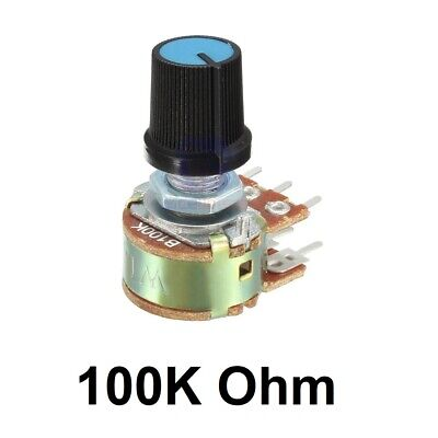 5x Potentiometers Pots Resistor Linear 6-pin Taper Rotary With Knob Cap 100k Ohm