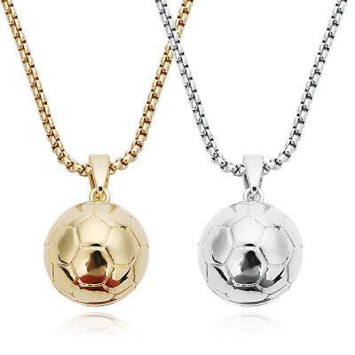 Fashion Men's Silver Plated Soccer Ball Pendants Necklace Stainless Steel - Soccer Jewelry