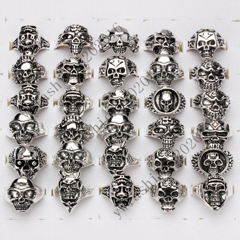wholesale lots 60pcs skull carved biker men silver tone rings jewelry