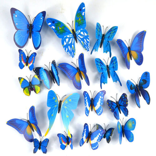Home Decoration - 12 Pcs 3D Butterfly Stickers Colourful Wedding DIY Home Room Decor Fridge Magnet