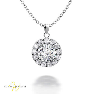 0.98ct GIA Round Diamond Halo Necklace Pendant 14K White Gold D/VVS1(6295925300)