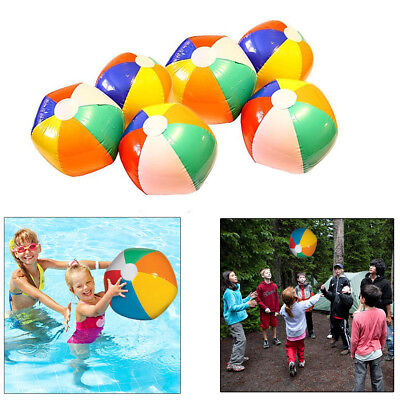 Inflatable Beach Balls - 6 Pack - Bright Rainbow Colored Pool Toys 12 Inches