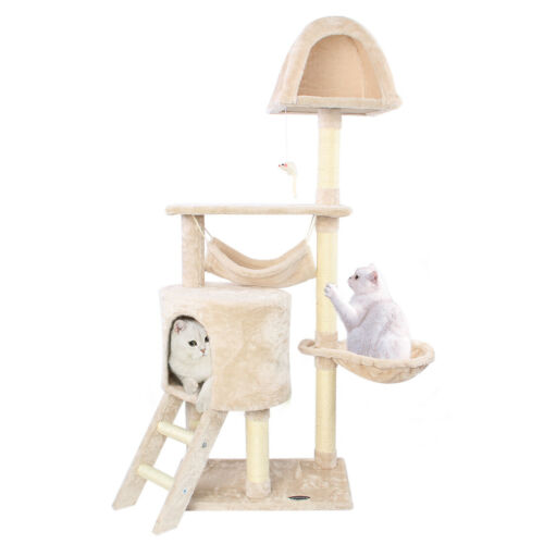 "56"" Cat Tree Sisal Scratching Scratcher Condo Post Pet Tower"