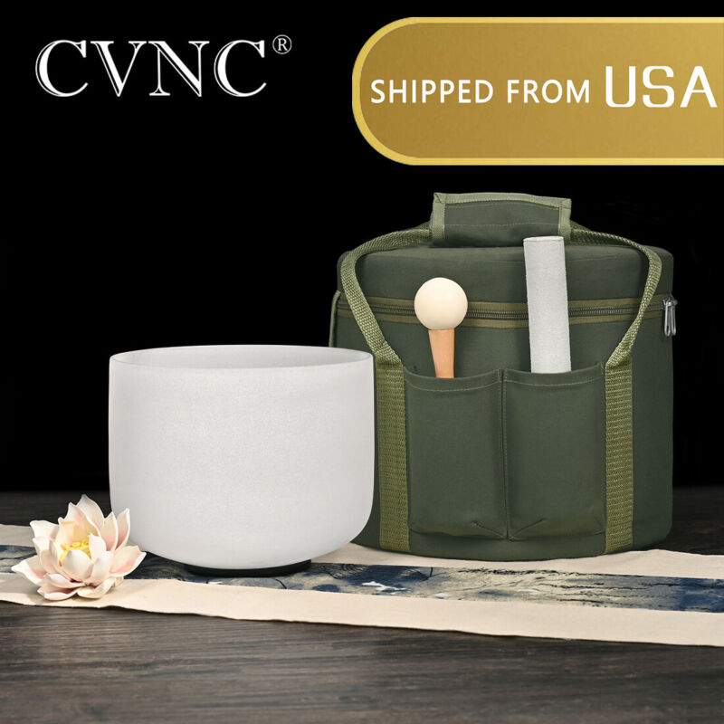CVNC 8 Inch A Note 440Hz 3rd-eye Chakra Crystal Singing Bowl Carrying Case Set