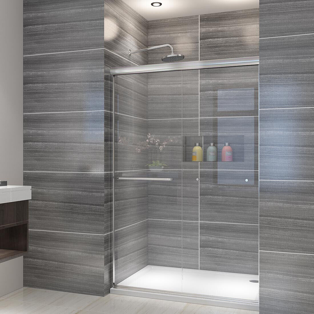 Elegant Semi Frameless Shower Door 48 X72 Bypass Sliding Glass Brushed Nickel