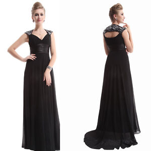 Chiffon Vintage V-neck Ruffles Empire Line Evening Dress 09672