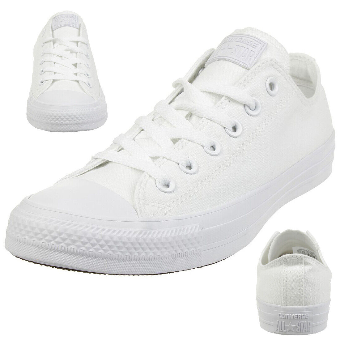 Converse all Star Ox Chuck Shoes Trainers Canvas White Monochrome 1U647