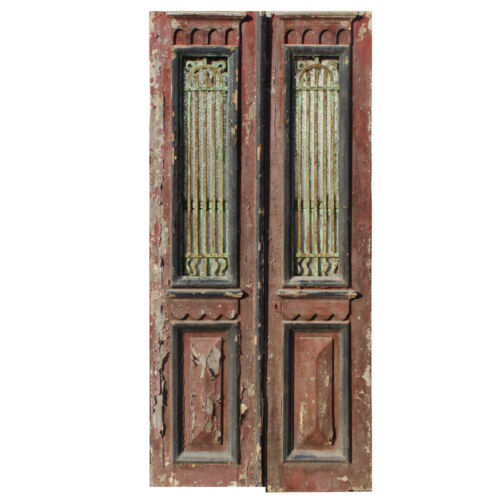 "Antique Pair of 40"" French Colonial Doors with Iron Inserts, NED1355"