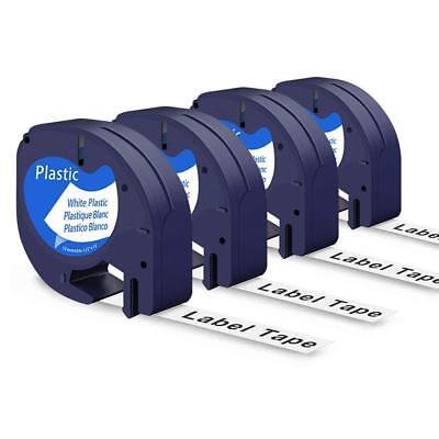 4pk Letratag Compatible Dymo 91331 Label Maker Tape White Cassate 12mm Refil