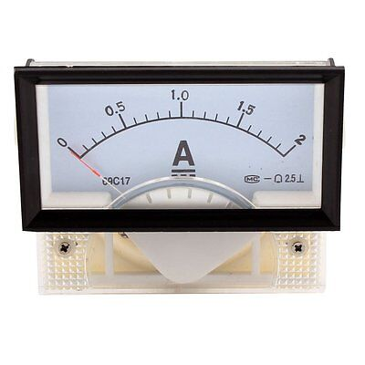 Dc 0-2a Rectangle 69c17 Panel Gauge Meter Analog Ampere Ammeter Class 2.5 New