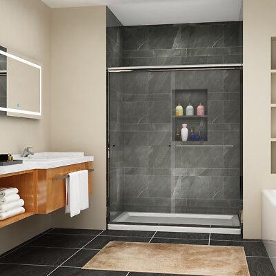 """Joyous SHOWER Sliding Shower Doors 60"""" x 72""""  Semi-Frameless Bypass Glass Chrome"""