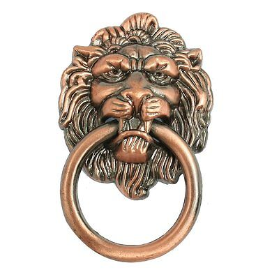 """Antique Style Copper Tone Metal Lion Head Shaped Drawer Pull Handle 2.5"""""""