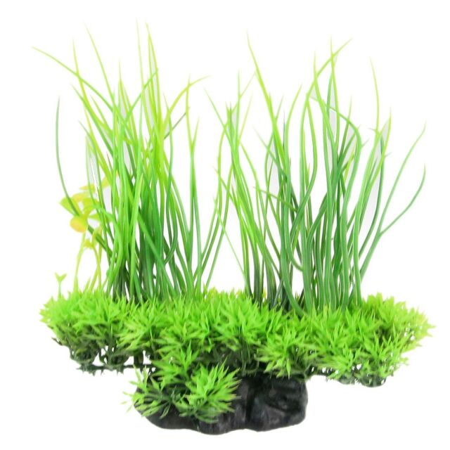 Aquarium Emulational Green Plastic Long Leaf Plant Decor 20cm SP