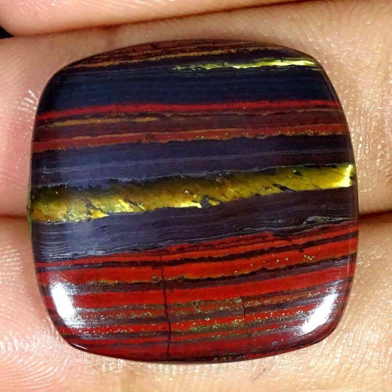 37.50Cts Natural Iron Tiger Cushion Cabochon Loose Gemstone