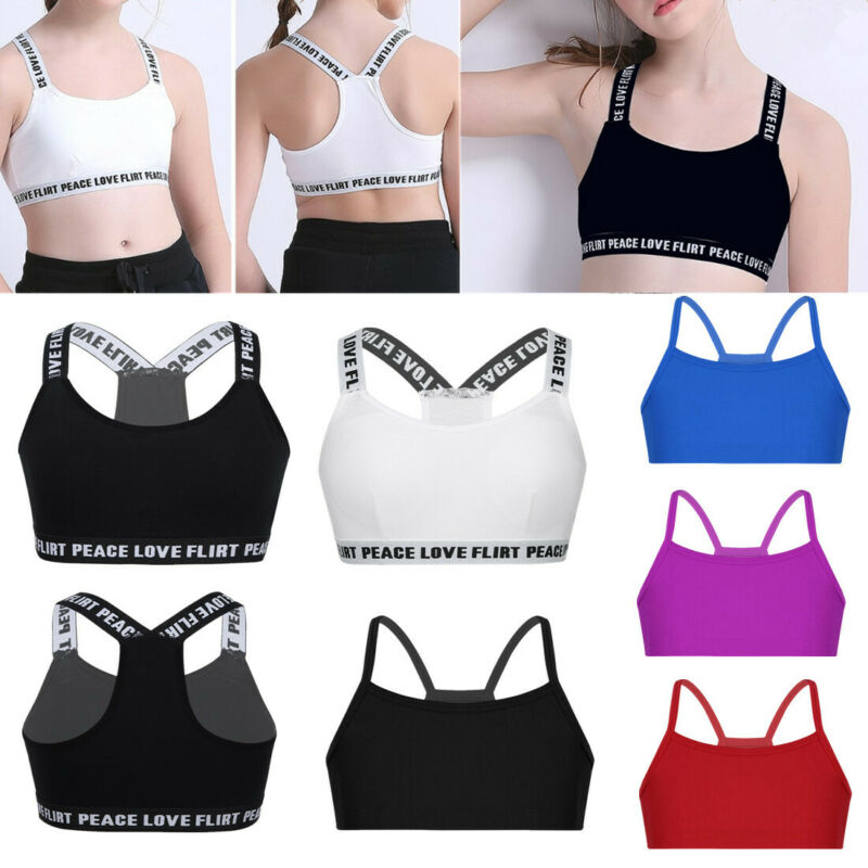 Oyolan 2PCS Girls Gymnastics Dance Sports Outfits Gym Workout Ballet Dancewear Racer Back Tank Top with Letters Printed Bottoms Set