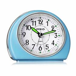 Alarm Clocks Non-Ticking for Bedrooms Smart Tickless Battery Powered Travel Blue