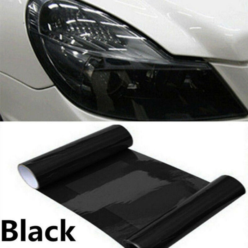 "*12/"" x 24/"" Gloss Dark Black Smoke Headlight Taillight Fog Light Tint Film Vinyl"